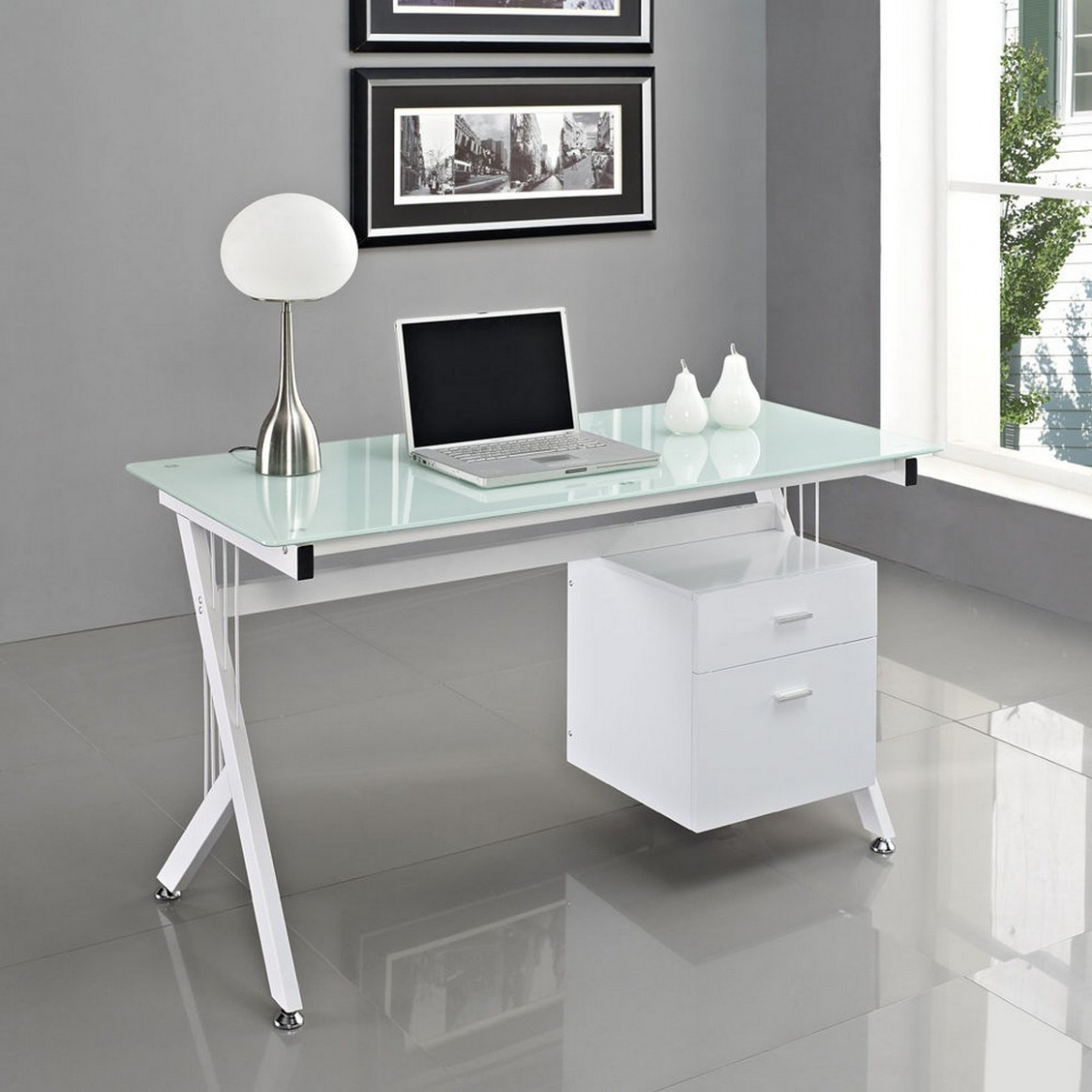 White Glass Computer Desk PC Table Home Office  Minimalist Desk  - Home Office Ideas With Glass Desk