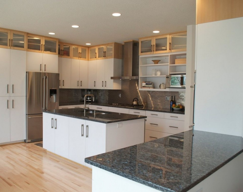 White Kitchen Cabinets with Dark Countertops  Antique white  - Kitchens With White Cabinets And Dark Granite Countertops