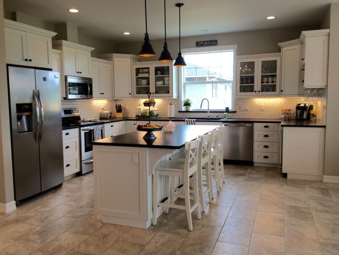 Whitekitchen, #glassfrontcabinets, leathered black pearl granite  - Kitchens With White Cabinets And Dark Granite Countertops