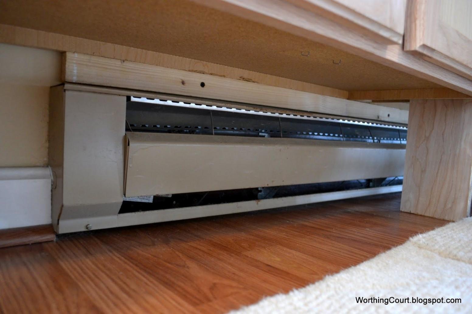 Work around baseboard heating  Baseboard heating, Baseboards  - Kitchen Cabinet Baseboard Heater