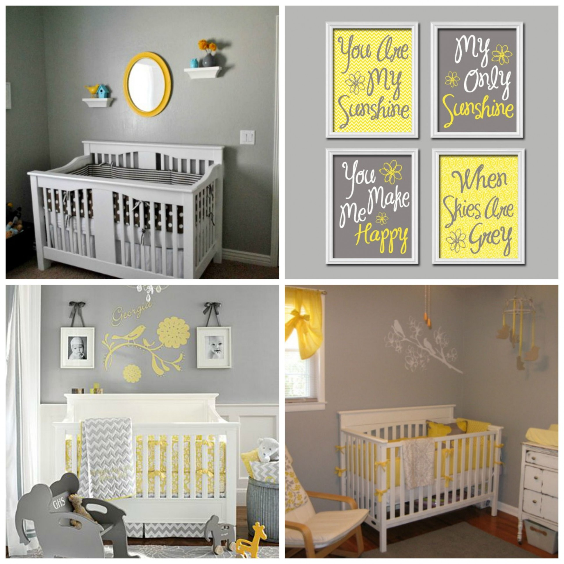 Yellow and Grey Themed Nursery; cute wall decor ideas  Grey baby  - Baby Room Yellow And Grey