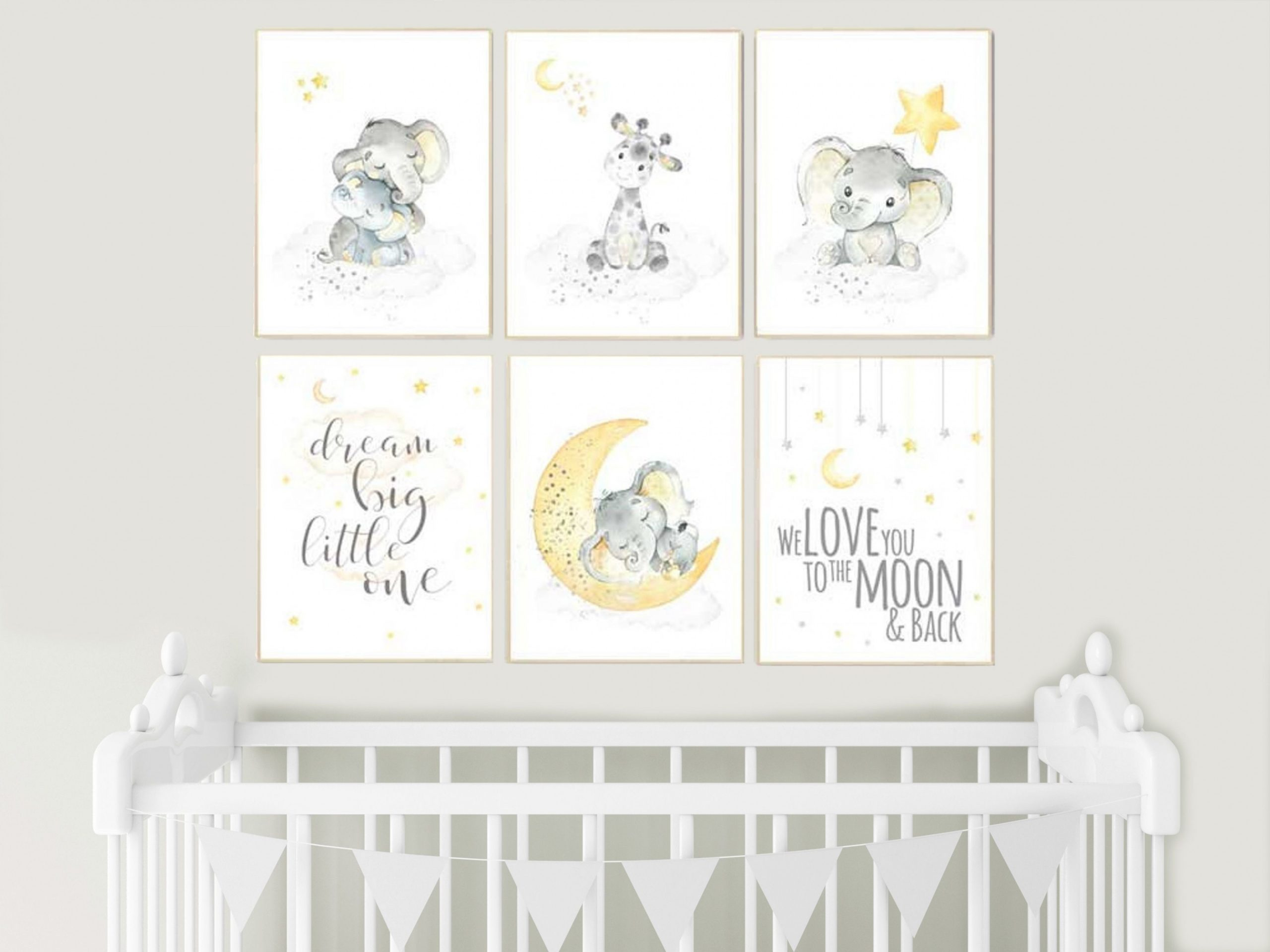 Yellow gray yellow grey gender neutral nursery wall art  Etsy  - Baby Room Wall Art
